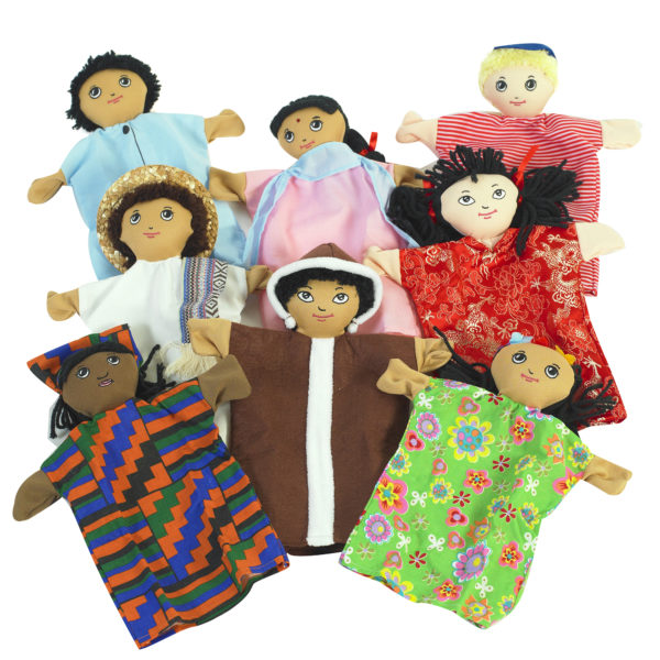 multi cultural hand puppets