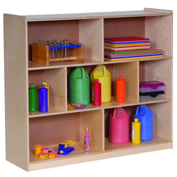 three shelf storage for toddlers