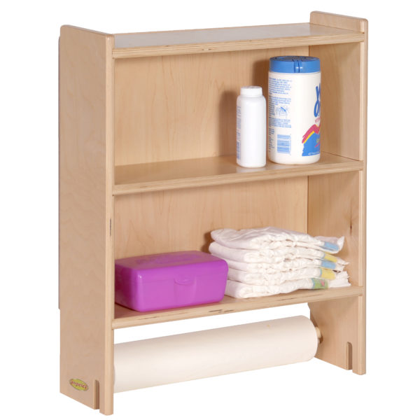 two shelf storage with changing paper roll
