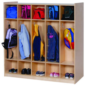 wooden coat rack storage for classroom