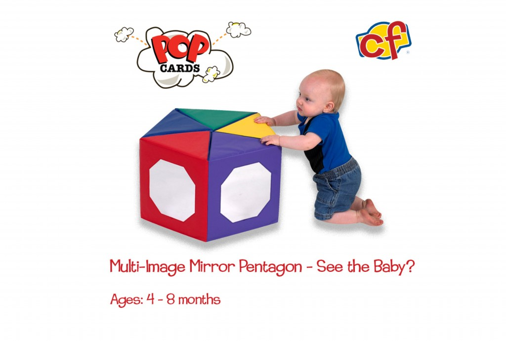 child playing with multi-image mirror pentagon