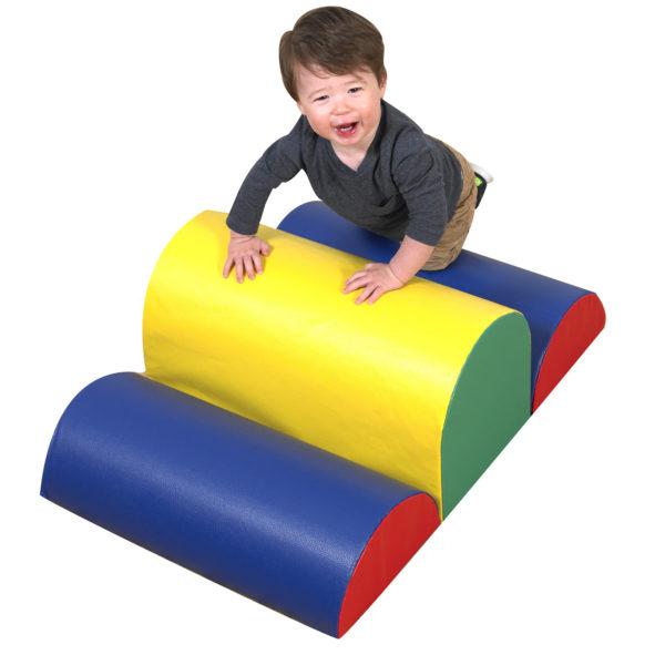 toddler climbing blocks