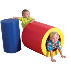 children in tunnel blocks