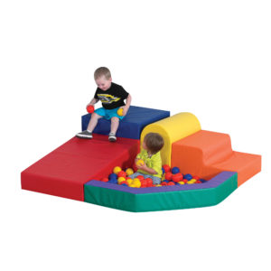 children playing on ball pit climber