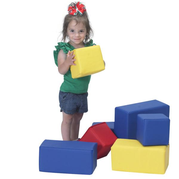 Toddler with sturdiblock set