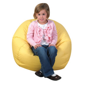 girl in yellow bean bag chair
