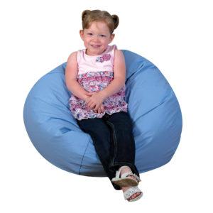 girl siting in bean bag chair