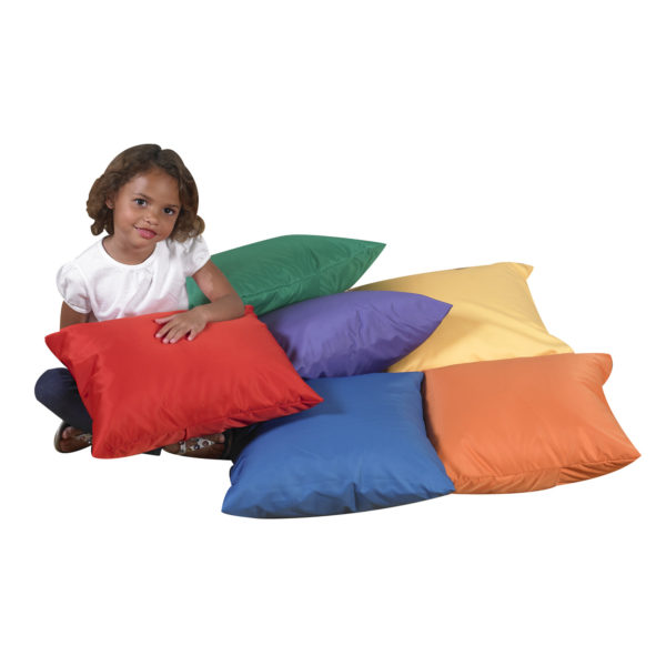 girl with multi colored pillows