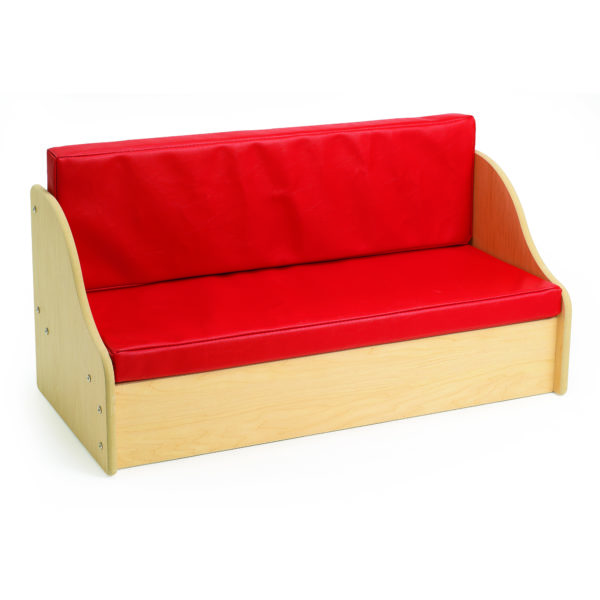 soft red living room bench