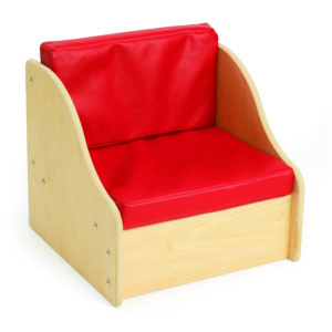 soft red living room chair