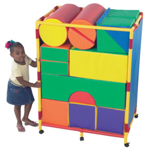 girl with soft play blocks