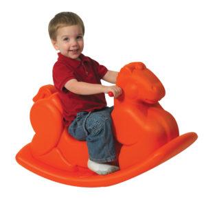 orange rocking horse