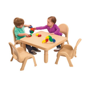 children playing at large tan square value table