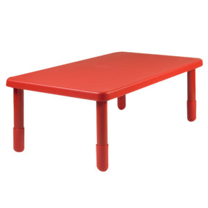 "Value Rectangle Table - Candy Apple Red with 20"" Legs"