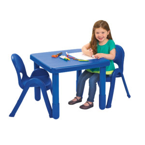 girl sitting at blue square value table