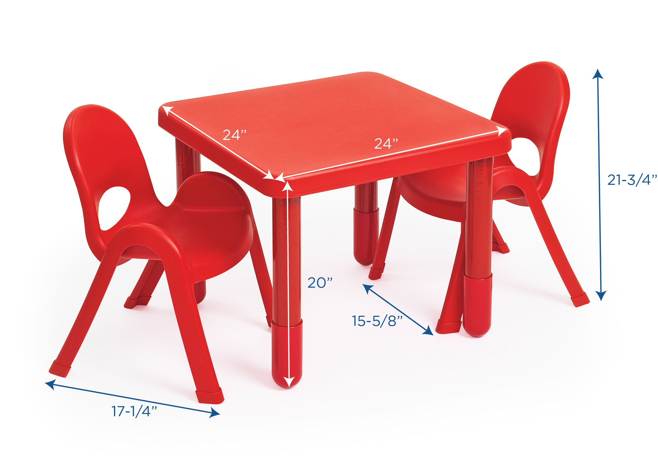 Set of 2 Angeles MyValue Candy Apple Red Table and Chair