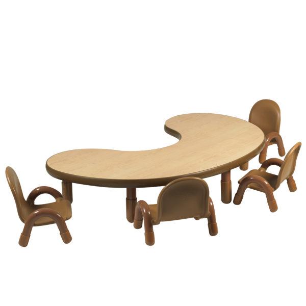 BaseLine® Toddler Kidney Table & Chair Set - Natural Wood