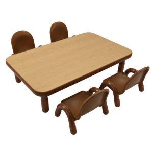 "BaseLine® Toddler 48"" x 30"" Rectangular Table & Chair Set - Natural Wood"