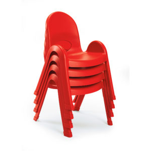 red stackable plastic child chairs