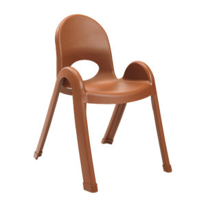 brown plastic child chair