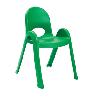 green plastic child chair