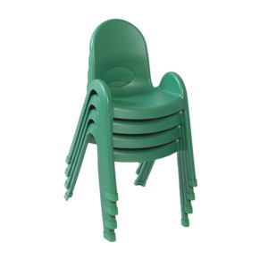 green stackable plastic child chair