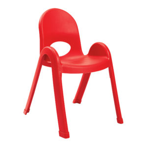 red plastic child chair