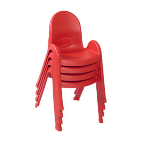 red stackable plastic child chair