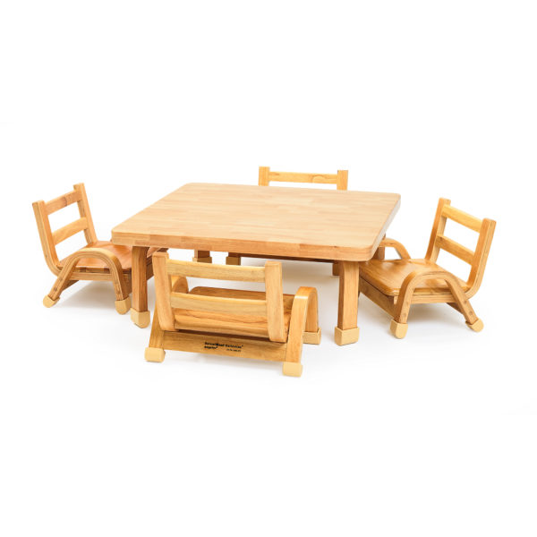 natural wood chair and square table