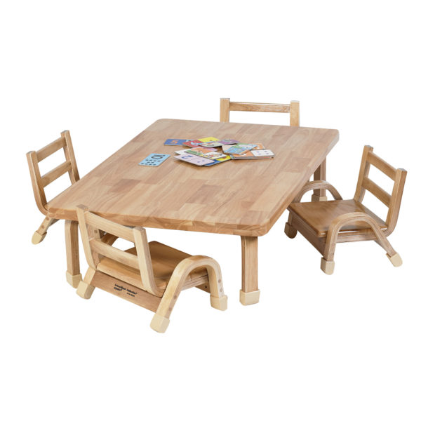 natural wood chair and table