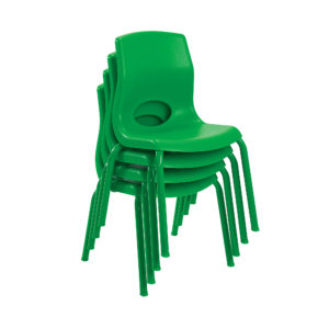 green stackable child chairs