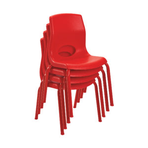 red stackable child chairs