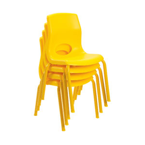 yellow stackable child chairs