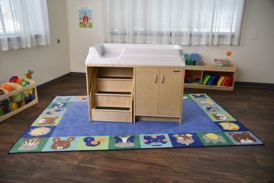 The Baby Animal Grid and Baby Animal Border Rugs bring the zoo to any home or classroom space.