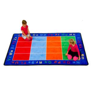 alphabet carpet with color squares