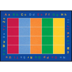 alphabet carpet with color squares