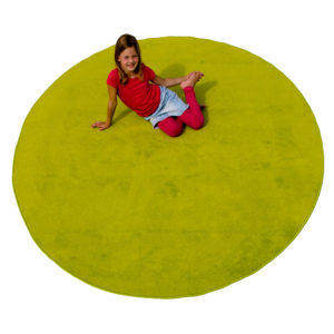 yellow round carpet