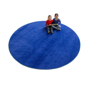 blue round carpet