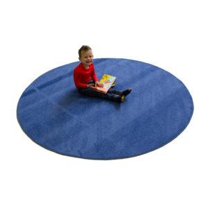 blue round carpet