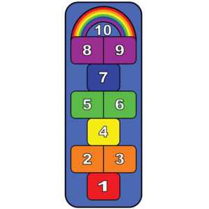 rainbow hopscotch learning carpet
